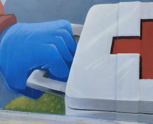 Per la croce rossa italiana a bussoleno hanno dipinto supe e sprayvenom con monkeysevolution e le vernici boero